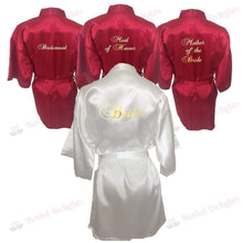 Load image into Gallery viewer, Bridesmaid Robes Set of 4 - White and Burgundy Bridal Party Robes  -  Bridal Delights