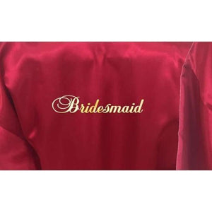 Bridesmaid Robes Set of 4 - White and Burgundy Bridal Party Robes  -  Bridal Delights