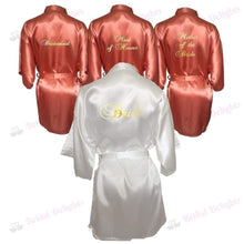 Load image into Gallery viewer, Bridesmaid Robes Set of 4 - White and Coral Bridal Party Robes  -  Bridal Delights