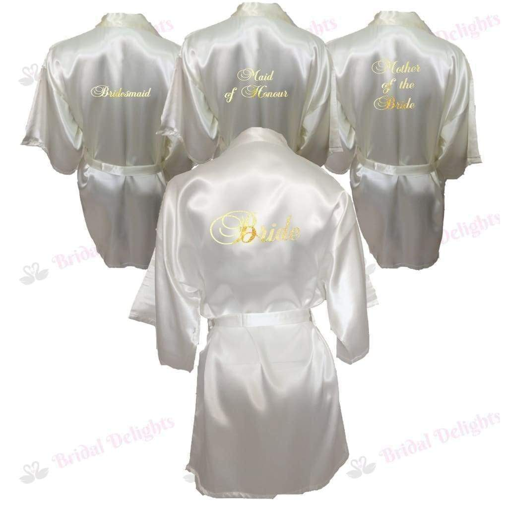 Bridesmaid Robes Set of 4 - White and Ivory Bridal Party Robes  -  Bridal Delights