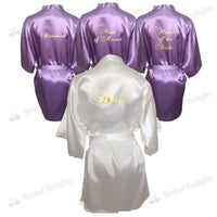 Bridesmaid Robes Set of 4 - White and Lilac Bridal Party Robes