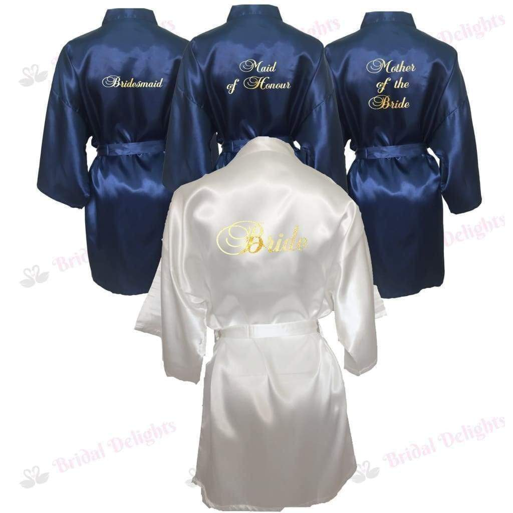 Bridesmaid Robes Set Of 4 White And Navy Blue Bridal Delights