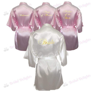 Bridesmaid Robes Set of 4 - White and Pink Bridal Party Robes