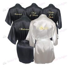 Load image into Gallery viewer, Bridesmaid Robes Set of 5 - White and Black Bridal Party Robes  -  Bridal Delights
