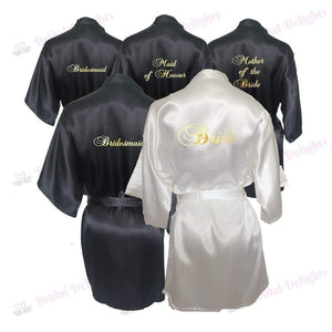 Bridesmaid Robes Set of 5 - White and Black Bridal Party Robes  -  Bridal Delights