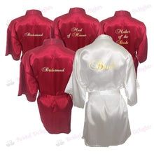 Load image into Gallery viewer, Bridesmaid Robes Set of 5 - White and Burgundy Bridal Party Robes  -  Bridal Delights