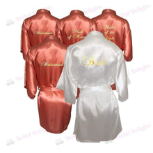 Load image into Gallery viewer, Bridesmaid Robes Set of 5 - White and Coral Bridal Party Robes  -  Bridal Delights