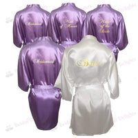 Bridesmaid Robes Set of 5 - White and Lilac Bridal Party Robes