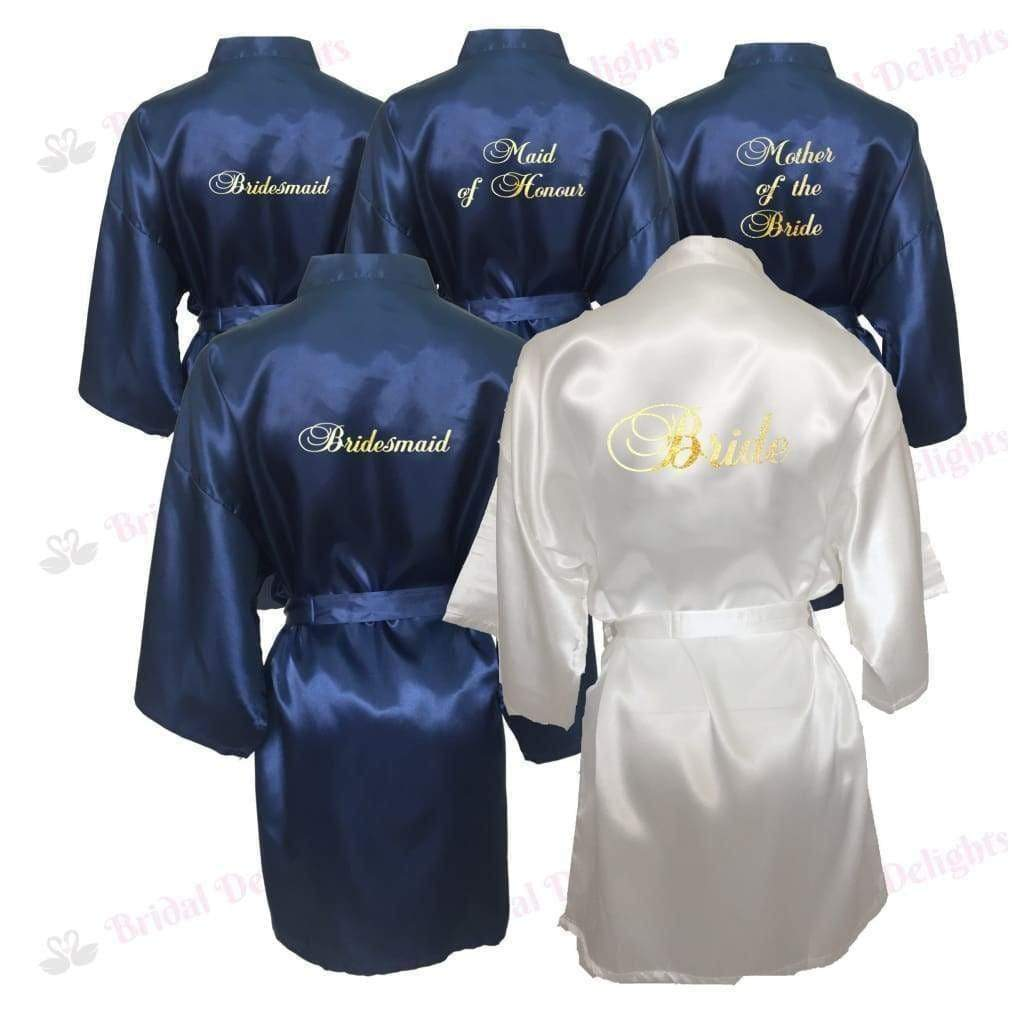 Bridesmaid Robes Set of 5 - White and Navy Blue Bridal Party Robes  -  Bridal Delights