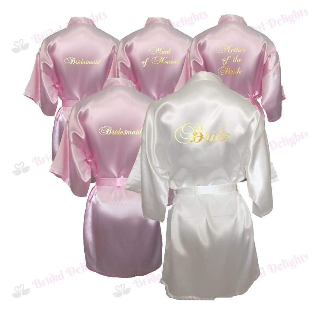 Bridesmaid Robes Set of 5 - White and Pink Bridal Party Robes  -  Bridal Delights
