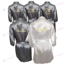 Load image into Gallery viewer, Bridesmaid Robes Set of 5 - White and Silver Bridal Party Robes  -  Bridal Delights