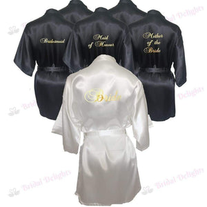 Bridesmaid Robes Set of 6 - White and Black Bridal Party Robes