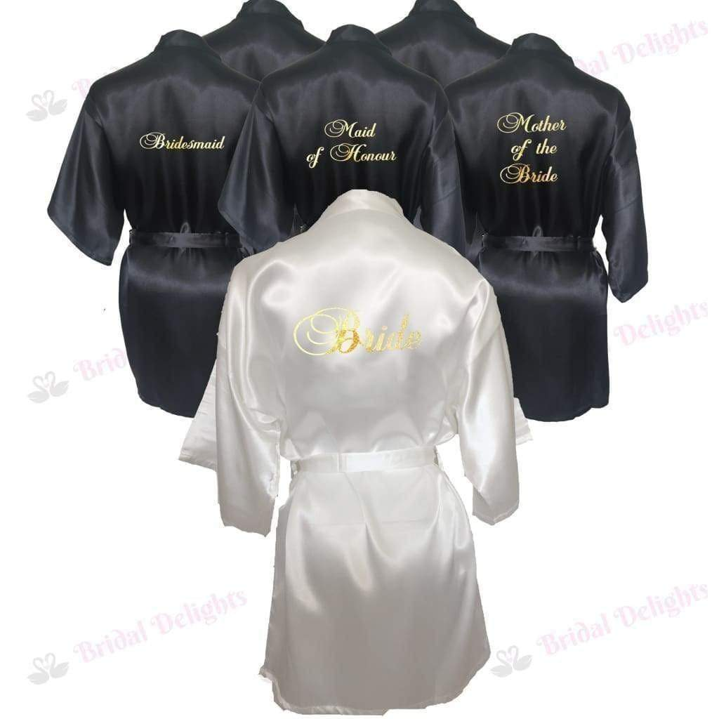 Bridesmaid Robes Set of 6 - White and Black Bridal Party Robes  -  Bridal Delights