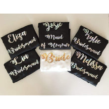 Load image into Gallery viewer, Bridesmaid Robes Set of 6 - White and Black Bridal Party Robes  -  Bridal Delights
