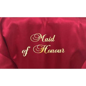 Bridesmaid Robes Set of 6 - White and Burgundy Bridal Party Robes  -  Bridal Delights