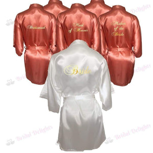 Bridesmaid Robes Set of 6 - White and Coral Bridal Party Robes  -  Bridal Delights