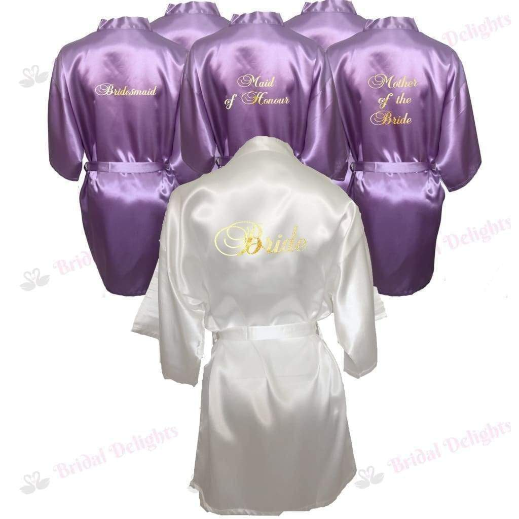 Bridesmaid Robes Set of 6 - White and Lilac Bridal Party Robes