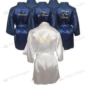 Bridesmaid Robes Set of 6 - White and Navy Blue Bridal Party Robes