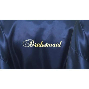 Bridesmaid Robes Set of 6 - White and Navy Blue Bridal Party Robes  -  Bridal Delights