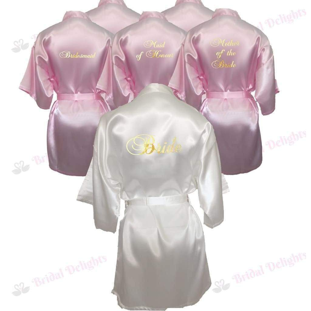 Bridesmaid Robes Set of 6 - White and Pink Bridal Party Robes  -  Bridal Delights