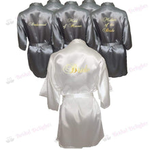 Load image into Gallery viewer, Bridesmaid Robes Set of 6 - White and Silver Bridal Party Robes