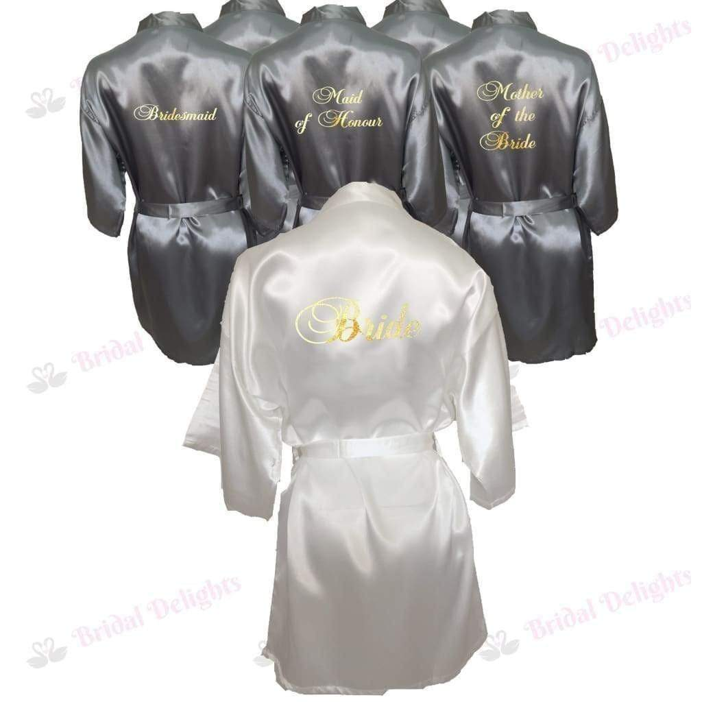 Bridesmaid Robes Set of 6 - White and Silver Bridal Party Robes