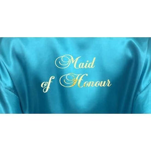 Bridesmaid Robes Set of 6 - White and Turquoise Bridal Party Robes  -  Bridal Delights