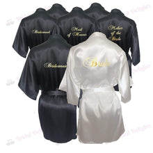 Load image into Gallery viewer, Bridesmaid Robes Set of 7 - White and Black Bridal Party Robes  -  Bridal Delights
