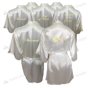 Bridesmaid Robes Set of 7 - White and Ivory Bridal Party Robes  -  Bridal Delights