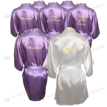 Load image into Gallery viewer, Bridesmaid Robes Set of 7 - White and Lilac Bridal Party Robes  -  Bridal Delights