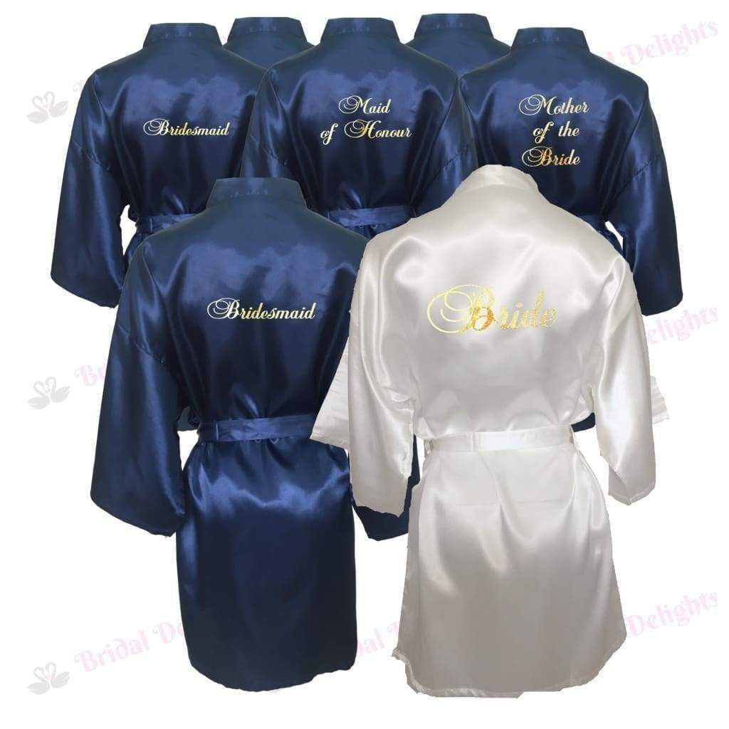 Bridesmaid Robes Set of 7 - White and Navy Blue Bridal Party Robes  -  Bridal Delights