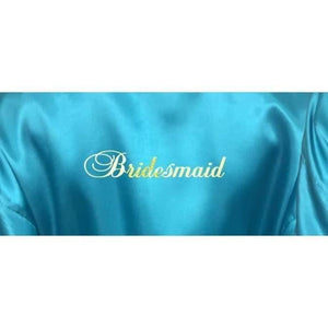 Bridesmaid Robes Set of 7 - White and Turquoise Bridal Party Robes  -  Bridal Delights