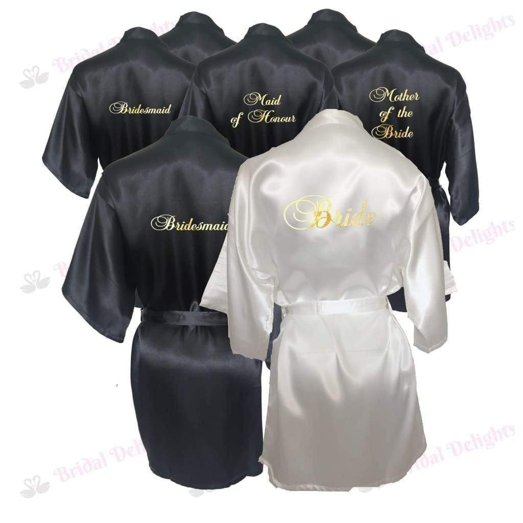 Bridesmaid Robes Set of 8 - White and Black Bridal Party Robes  -  Bridal Delights