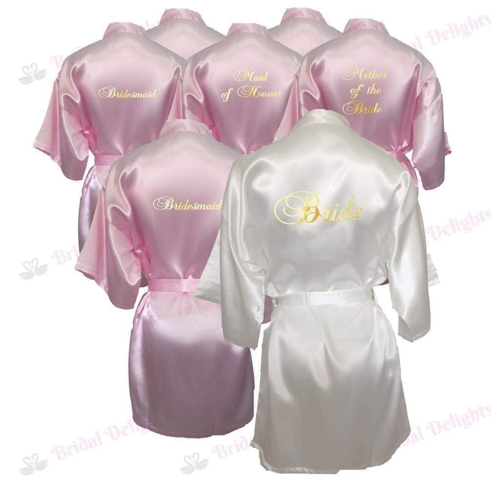 Bridesmaid Robes Set of 8 - White and Pink Bridal Party Robes  -  Bridal Delights