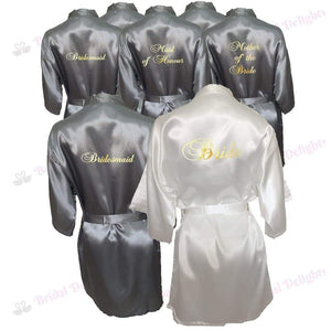 Bridesmaid Robes Set of 8 - White and Silver Bridal Party Robes  -  Bridal Delights
