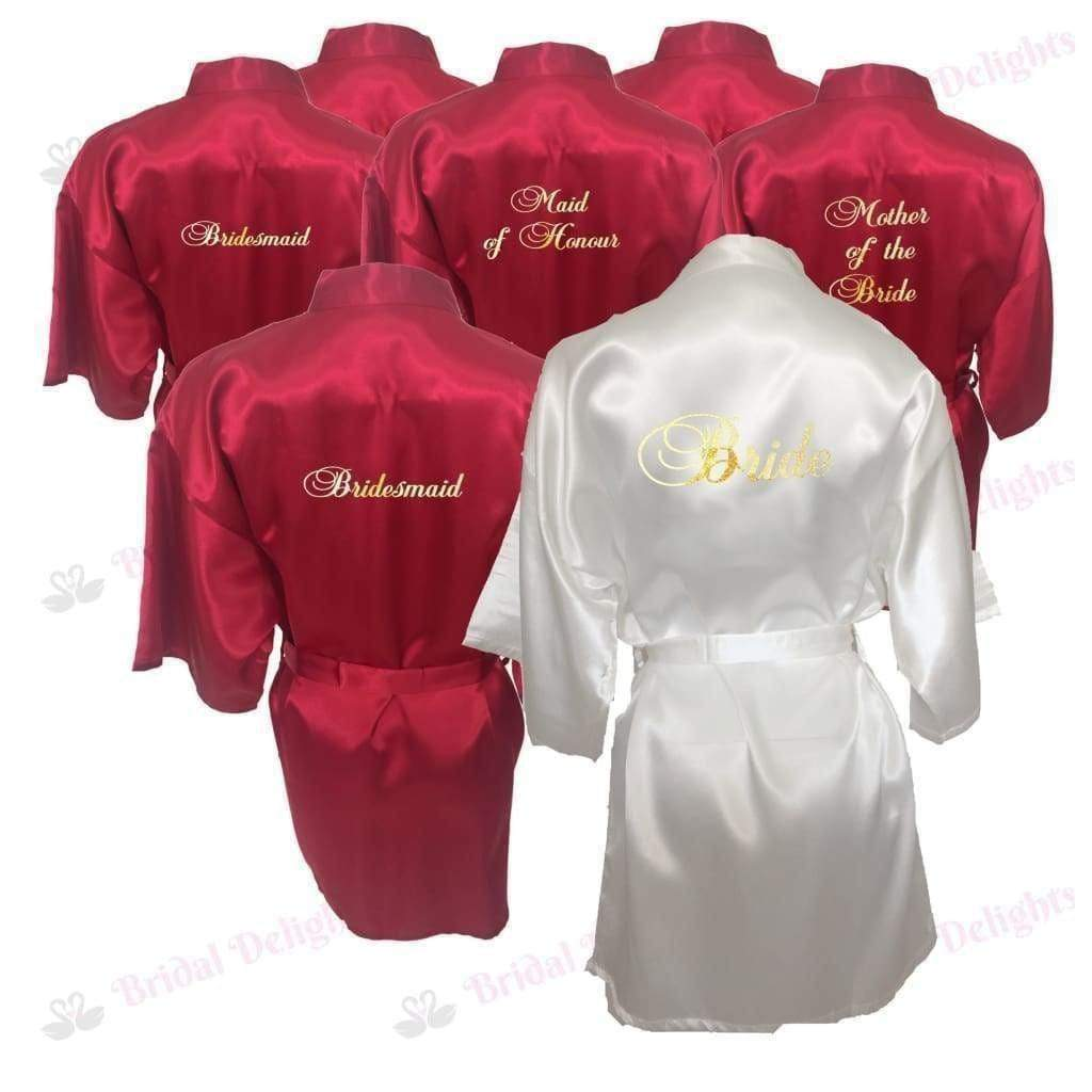 Bridesmaid Robes Set of 9 - White and Burgundy Bridal Party Robes  -  Bridal Delights
