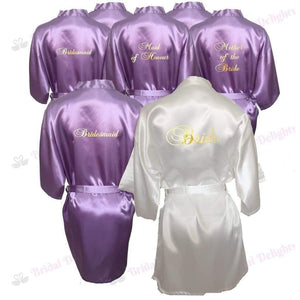 Bridesmaid Robes Set of 9 - White and Lilac Bridal Party Robes  -  Bridal Delights