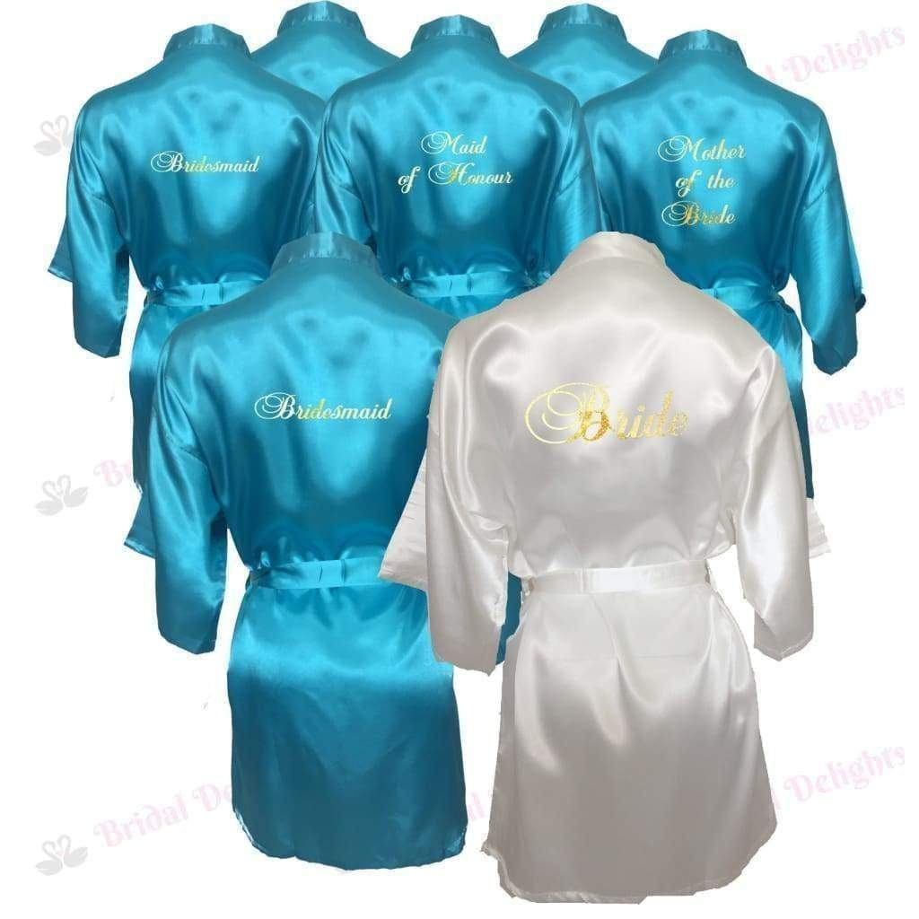 Bridesmaid Robes Set of 9 - White and Turquoise Bridal Party Robes  -  Bridal Delights