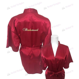 Burgundy Bridesmaid Robe - Bridal Party Robe from  -  Bridal Delights