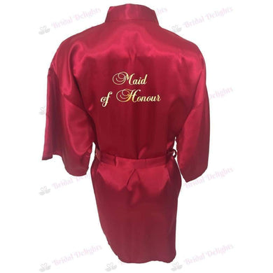 Burgundy Bridesmaid Robe - Maid of Honour from  -  Bridal Delights