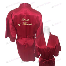 Load image into Gallery viewer, Burgundy Bridesmaid Robe - Maid of Honour from