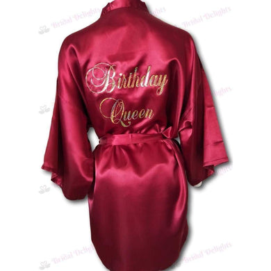 Burgundy Satin Robe | Birthday Queen  -  Bridal Delights