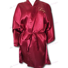 Load image into Gallery viewer, Burgundy Satin Robe | Birthday Queen  -  Bridal Delights