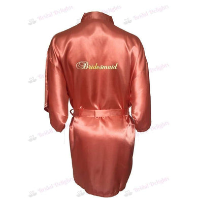 Coral Bridesmaid Robe - Bridal Party Robe from  -  Bridal Delights