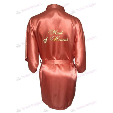 Coral Bridesmaid Robe - Maid of Honour from  -  Bridal Delights