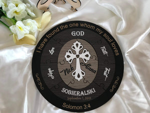 Wedding Ceremony Puzzle - Christian puzzle with 6 names (dark theme) | Bridal Delights