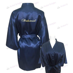 Navy Blue Bridesmaid Robe - Bridal Party Robe from  -  Bridal Delights