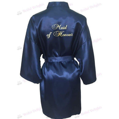 Navy Blue Bridesmaid Robe - Maid of Honour from  -  Bridal Delights