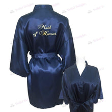 Load image into Gallery viewer, Navy Blue Bridesmaid Robe - Maid of Honour from  -  Bridal Delights