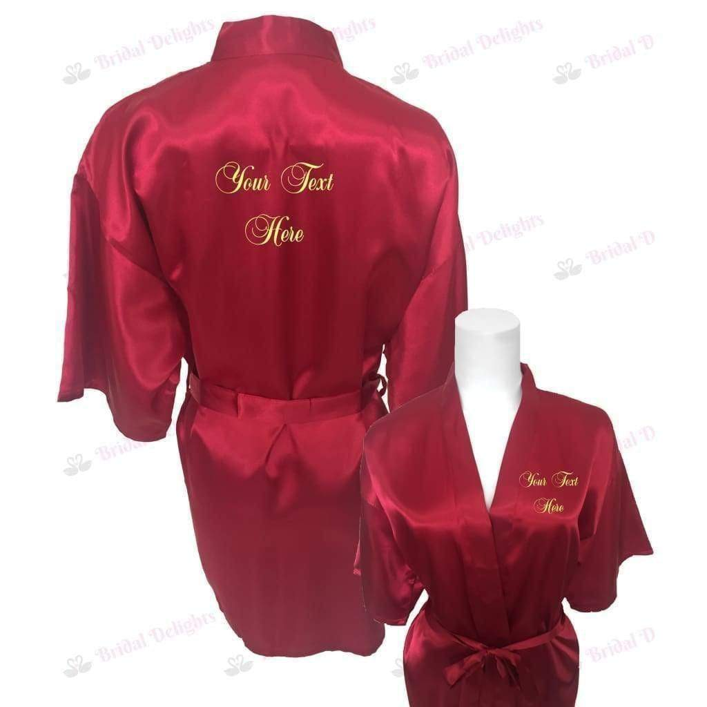 Personalised Burgundy Bridesmaid Robe - Bridal Party Robe from  -  Bridal Delights